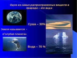 Одно из самых распространенных веществ в природе – это вода Земля называется