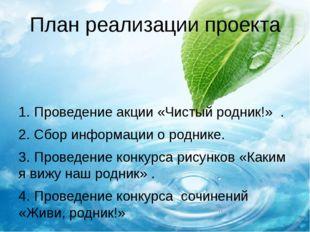 План реализации проекта 1.Проведение акции «Чистый родник!» . 2.Сбор информ