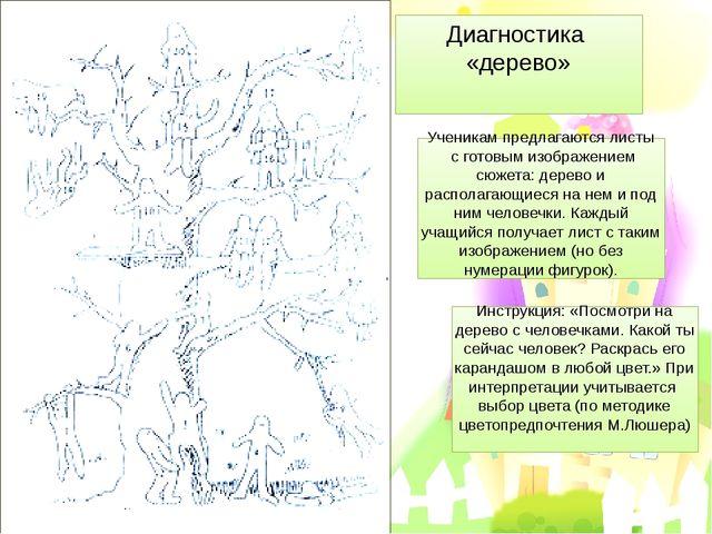 Диагностика «дерево» Ученикам предлагаются листы с готовым изображением сюжет...