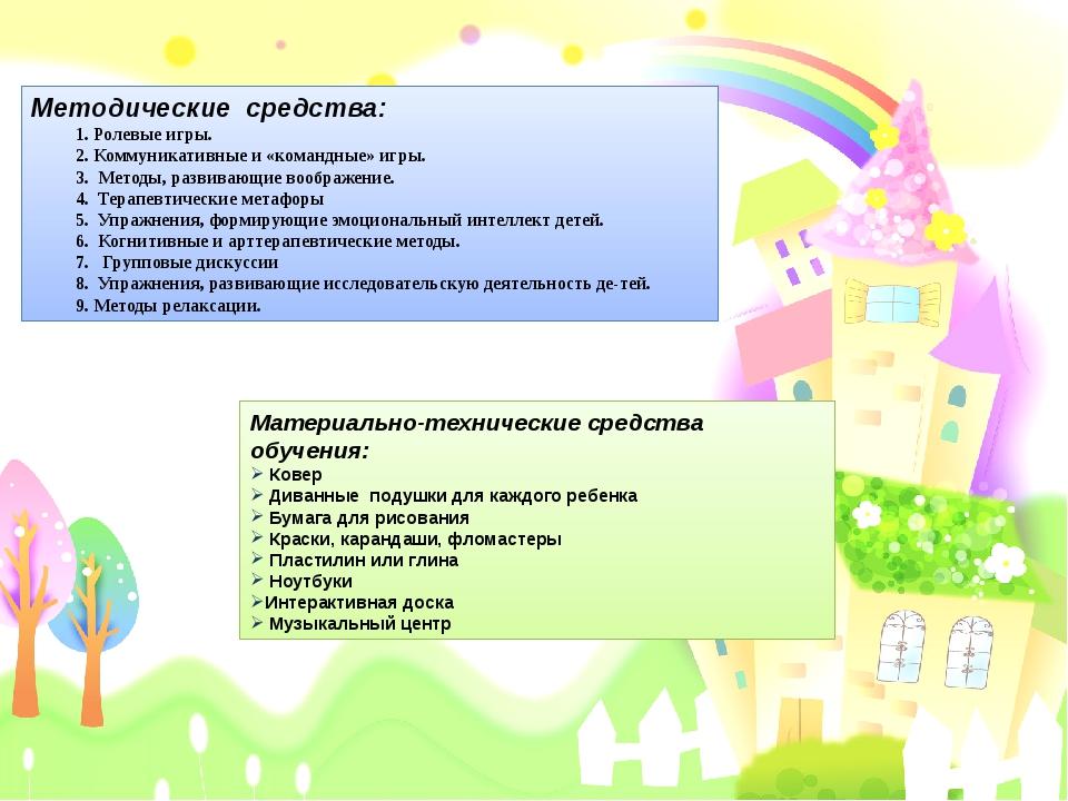 Методические средства: 1. Ролевые игры. 2. Коммуникативные и «командные» игры...