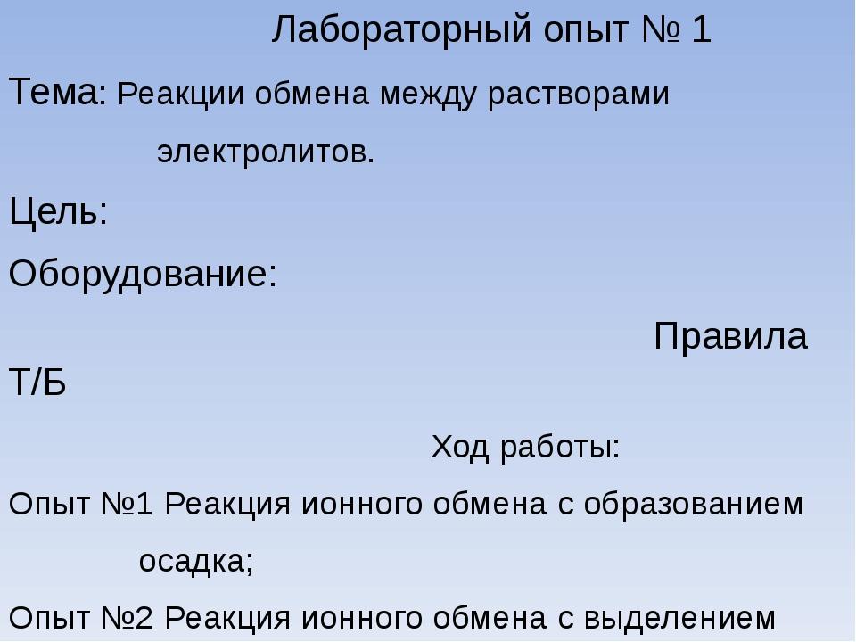 Лабораторный опыт № 1 Тема: Реакции обмена между растворами электролитов. Це...