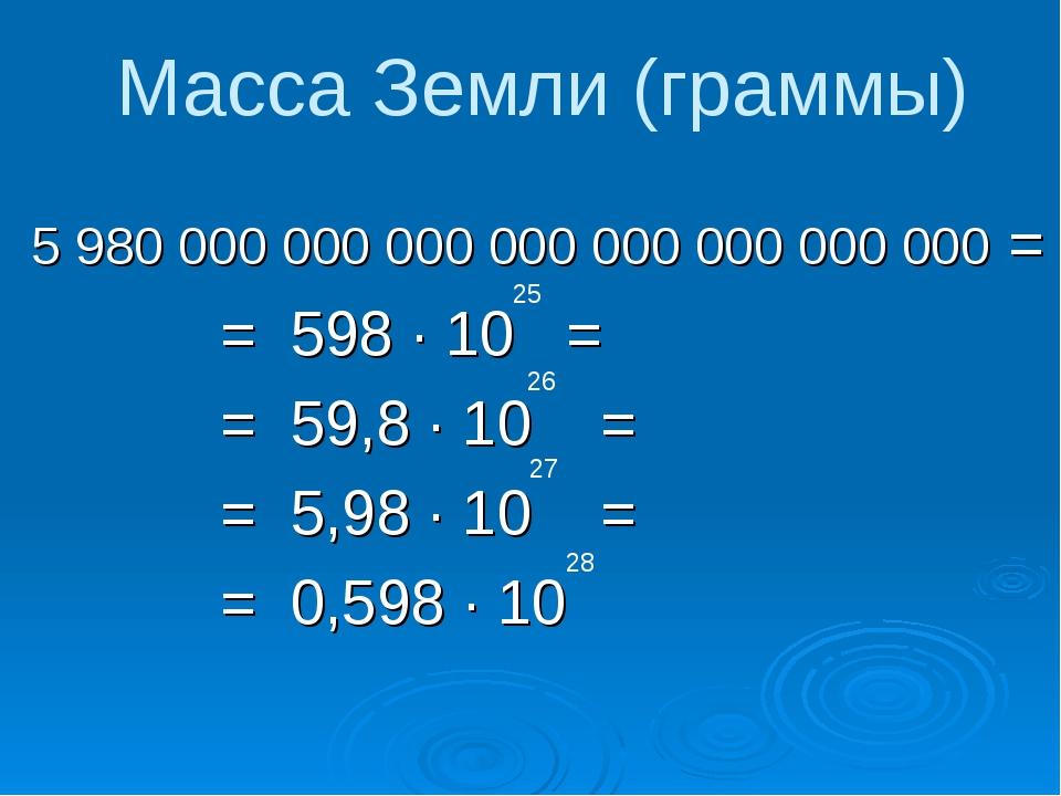 5 980 000 000 000 000 000 000 000 000 = = 598 ∙ 10 = = 59,8 ∙ 10 = = 5,98 ∙ 1...