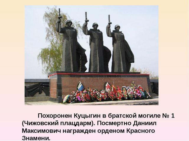Похоронен Куцыгин в братской могиле № 1 (Чижовский плацдарм). Посмертно Дани...