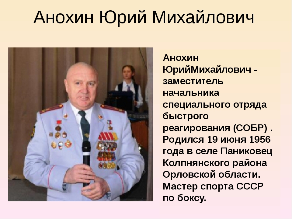 Анохин Юрий Михайлович Анохин ЮрийМихайлович - заместитель начальника специал...