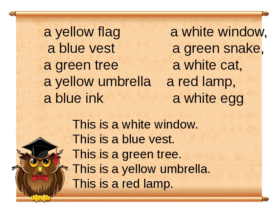 a yellow flag a white window, a blue vest a green snake, a green tree a white...