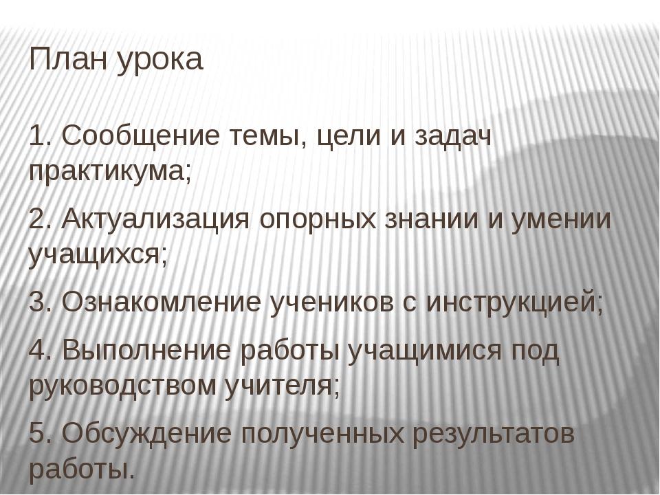 План урока 1. Сообщение темы, цели и задач практикума; 2. Актуализация опорны...