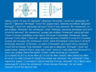 Линза суреті О1 мен О2 линзаның сфералық беттерінің қисықтық центрлері, R1 ме