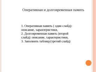 Оперативная и долговременная память 1. Оперативная память ( один слайд): опис