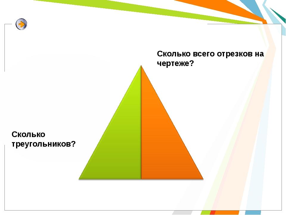 Сколько всего отрезков на чертеже? Сколько треугольников?