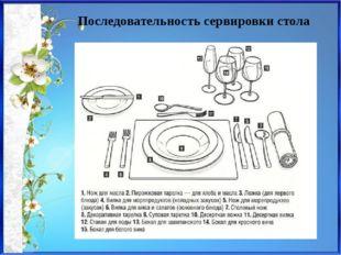 Последовательность сервировки стола