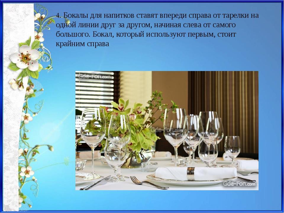 4. Бокалы для напитков ставят впереди справа от тарелки на одной линии друг з...