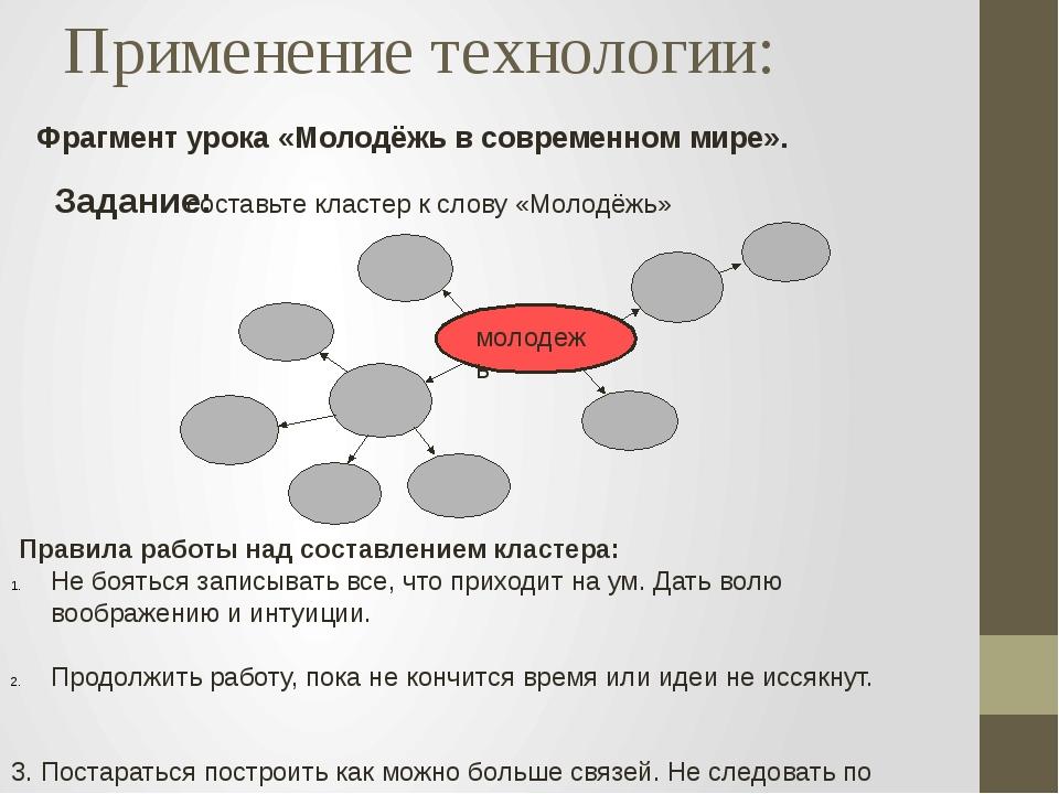 Фрагмент урока «Молодёжь в современном мире». Применение технологии: Задание:...