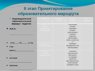 II этап Проектирование образовательного маршрута Индивидуальный образовательн