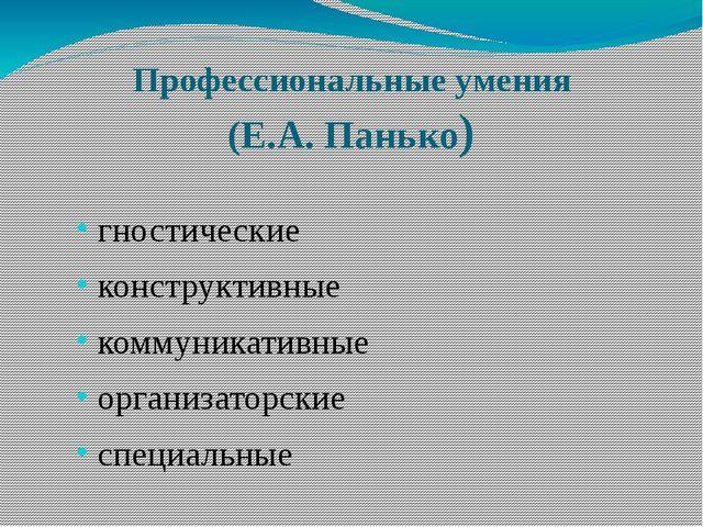 Профессиональные умения (Е.А. Панько) гностические конструктивные коммуникати...