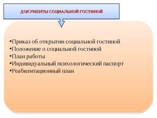 Приказ об открытии социальной гостиной Положение о социальной гостиной План р