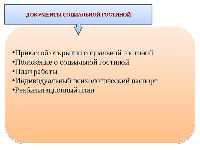 Приказ об открытии социальной гостиной Положение о социальной гостиной План р...