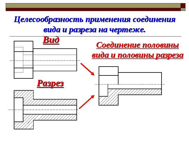 Целесообразность применения соединения вида и разреза на чертеже. Вид Разрез...