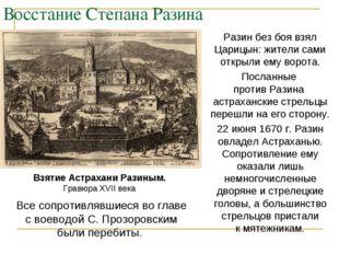 Восстание Степана Разина Разин без боя взял Царицын: жители сами открыли ему