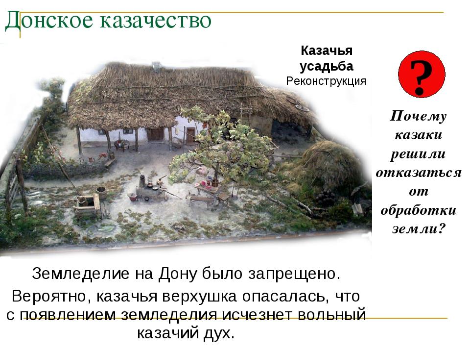 Донское казачество Земледелие на Дону было запрещено. Вероятно, казачья верху...