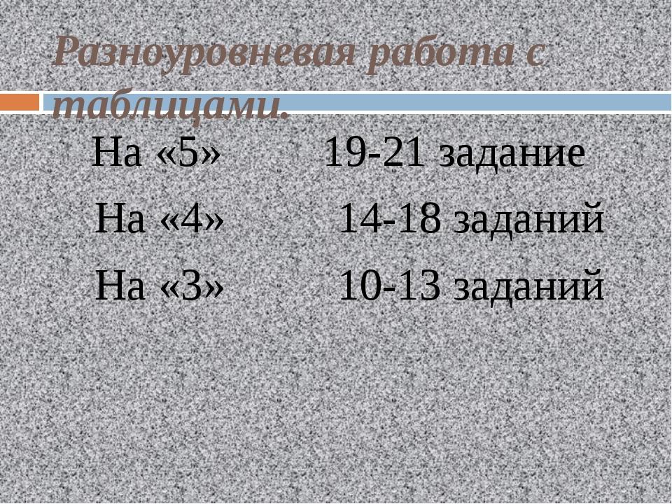 Разноуровневая работа с таблицами. На «5» 19-21 задание На «4» 14-18 заданий...