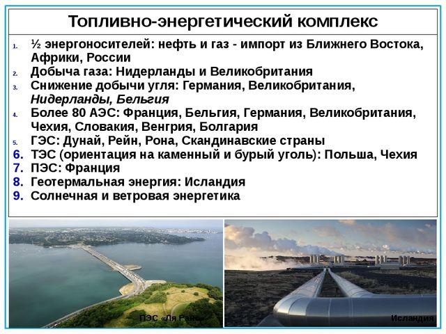 ПЭС «Ля Ранс» Исландия Топливно-энергетический комплекс ½ энергоносителей:неф...