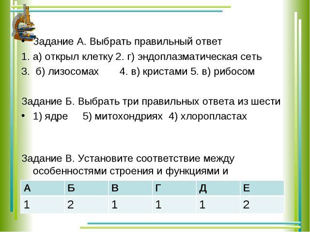 Задание А. Выбрать правильный ответ 1. а) открыл клетку 2. г) эндоплазматиче...
