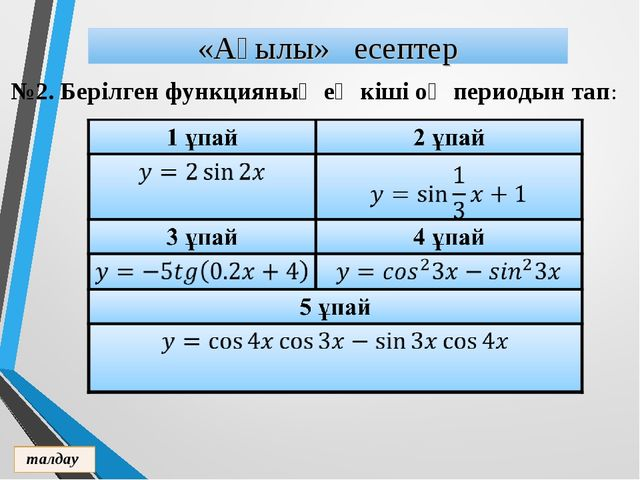 №2. Берілген функцияның ең кіші оң периодын тап: «Ақылы» есептер талдау