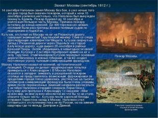 Захват Москвы (сентябрь 1812 г.) 14 сентября Наполеон занял Москву без боя, а