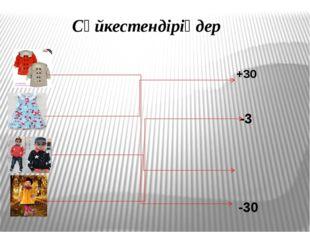 Сәйкестендіріңдер +3 -3 -30 +30