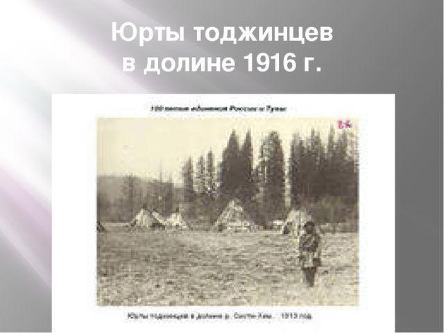 Юрты тоджинцев в долине 1916 г.