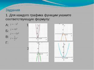 Задания 1. Для каждого графика функции укажите соответствующую формулу: А: 1: