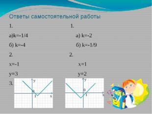 Ответы самостоятельной работы 1. 1. а)k=-1/4 а) k=-2 б) k=-4 б) k=-1/9 2. 2.