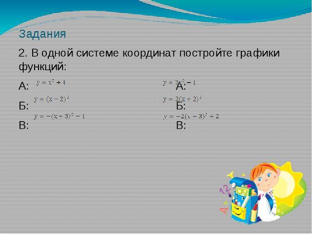Задания 2. В одной системе координат постройте графики функций: А: А: Б: Б: В...