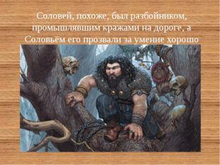Соловей, похоже, был разбойником, промышлявшим кражами на дороге, а Соловьём