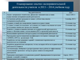 Планирование опытно-экспериментальной деятельности учителя в 2013 – 2014 учеб