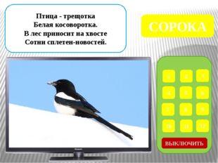 1 2 3 4 5 6 7 8 9 ВЫКЛЮЧИТЬ 12 11 10 Чернокрылый, красногрудый, И зимой найд
