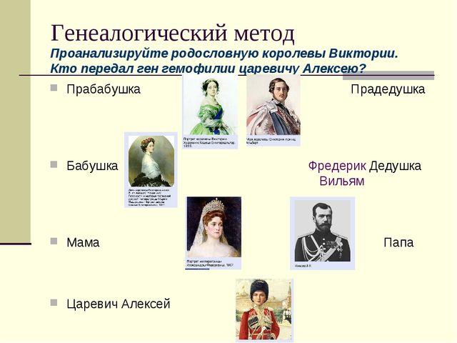Генеалогический метод Проанализируйте родословную королевы Виктории. Кто пере...