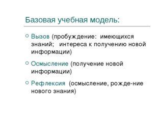 Базовая учебная модель: Вызов (пробуждение: имеющихся знаний; интереса к полу