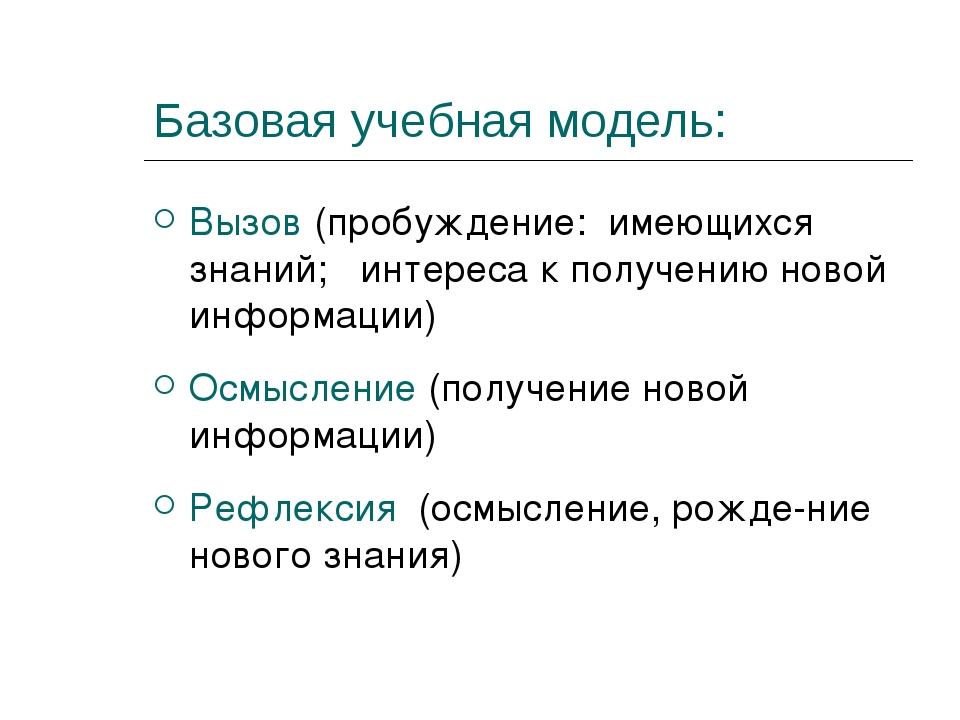 Базовая учебная модель: Вызов (пробуждение: имеющихся знаний; интереса к полу...