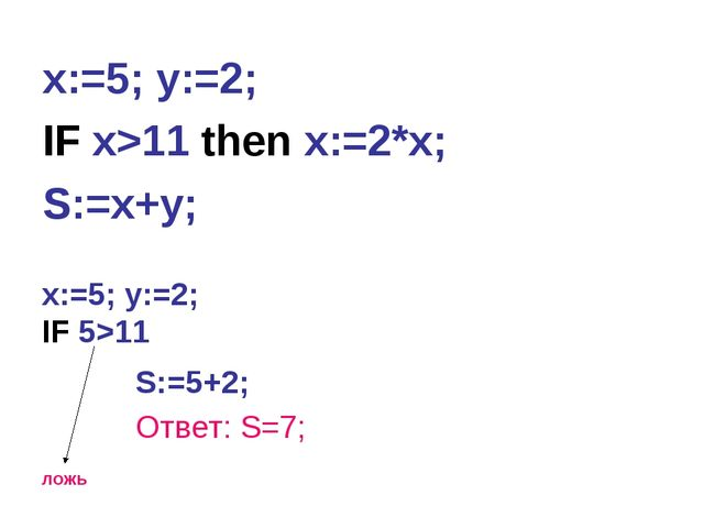 x:=5; y:=2; IF x>11 then x:=2*x; S:=x+y; x:=5; y:=2; IF 5>11 ложь S:=5+2; Отв...