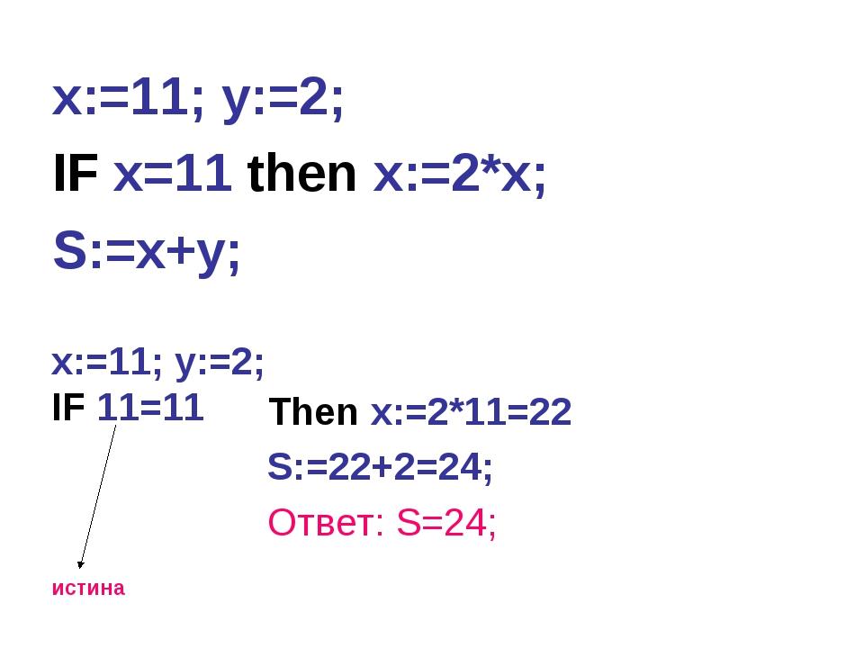 x:=11; y:=2; IF x=11 then x:=2*x; S:=x+y; x:=11; y:=2; IF 11=11 истина Then x...