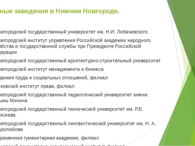 Учебные заведения в Нижнем Новгороде. Нижегородский государственный университ...