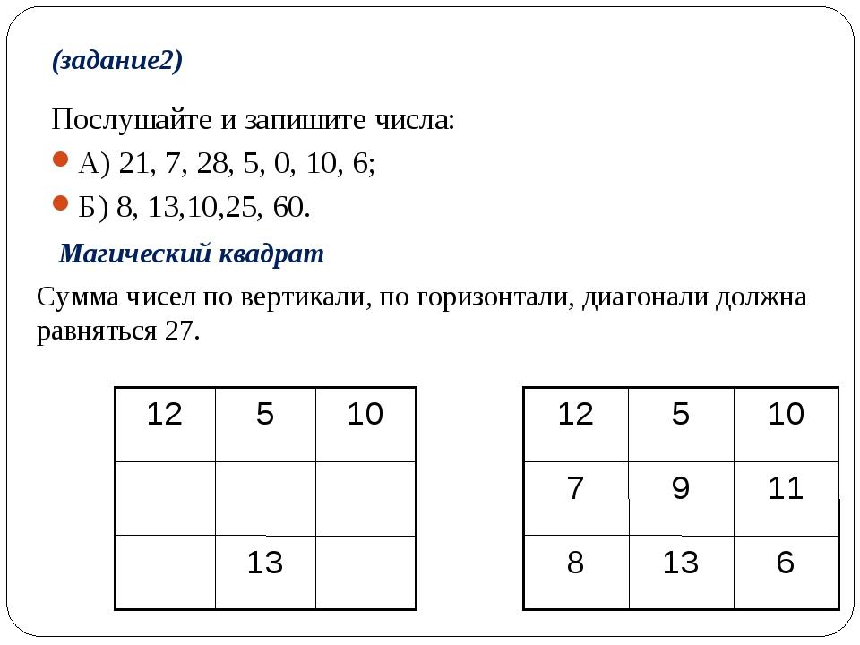 (задание2) Послушайте и запишите числа: А) 21, 7, 28, 5, 0, 10, 6; Б) 8, 13,...