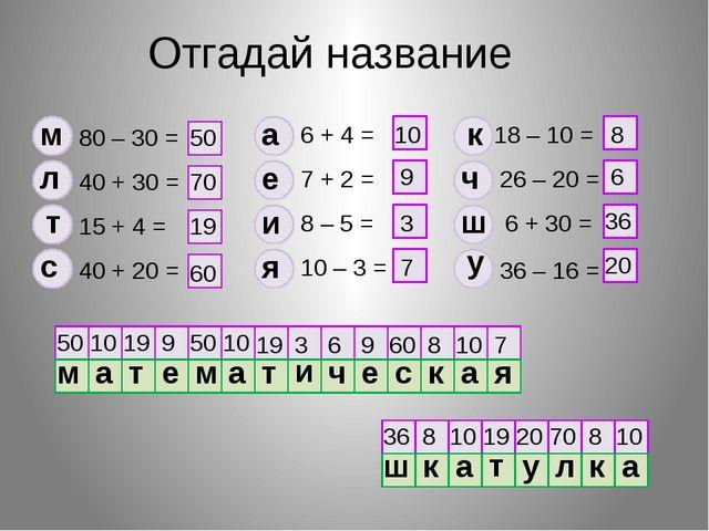 Отгадай название 80 – 30 = 40 + 30 = 15 + 4 = 40 + 20 = 6 + 4 = 7 + 2 = 8 – 5...