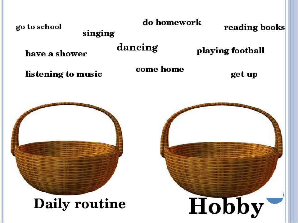 Hobby Daily routine go to school singing do homework reading books playing fo...