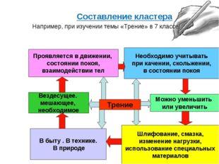 Составление кластера Например, при изучении темы «Трение» в 7 классе: Трение