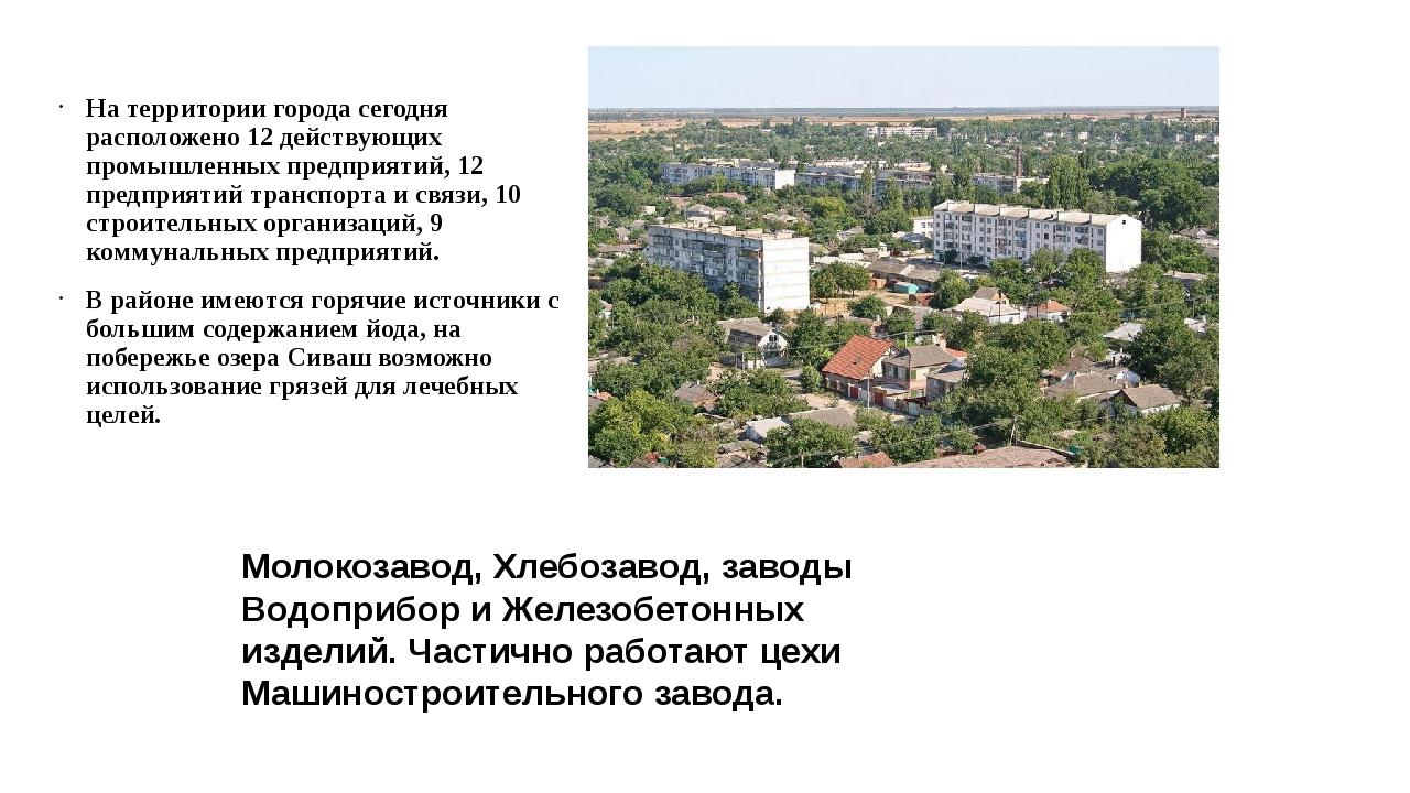 На территории города сегодня расположено 12 действующих промышленных предприя...