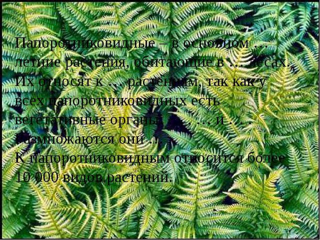 Папоротниковидные – в основном … летние растения, обитающие в … лесах. Их отн...
