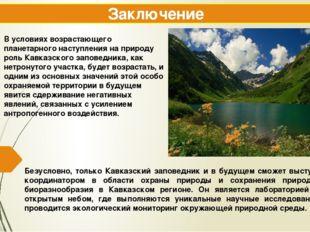Заключение Безусловно, только Кавказский заповедник и в будущем сможет выступ