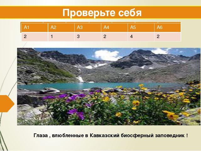 Проверьте себя Глаза , влюбленные в Кавказский биосферный заповедник ! А1 А2...
